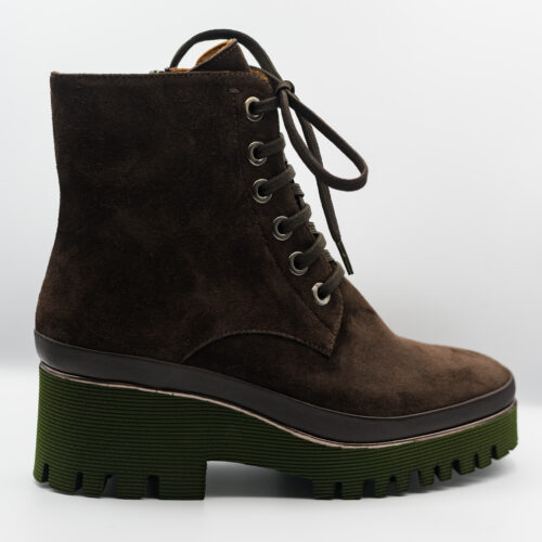Brown suede lace up ankle boot with additional zip.